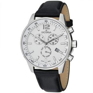 Grovana Mens White Dial Black Leather Strap Chronograph Quartz Watch