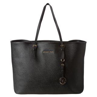 MICHAEL Michael Kors Jet Set Medium Black Leather Tote Bag