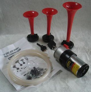 Air Horn Triple 135 DB Loud 12V Kit Car Truck Van New