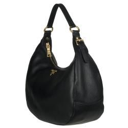 Prada Vitello Daino Black Leather Hobo Bag
