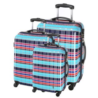 Collection HFD. Coloris  bleu. Set de 3 valises trolley 4 roues, en