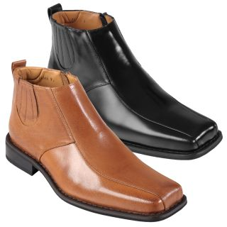 Oxford & Finch Mens Topstitched Leather Ankle Boots