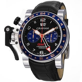 Graham Mens Chronofighter Black Dial Black Leather Strap GMT Watch