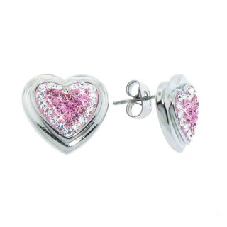 Eternally Haute Stainless Steel Pink and White Czech Crystal Heart