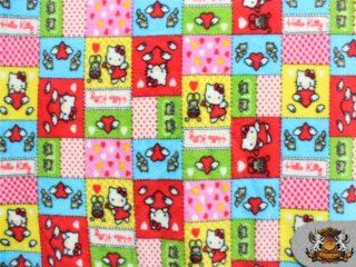 Fleece Printed HELLO KITTY COLOR PATCH Fabric 58 Wide