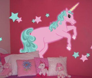 Large Pastel Unicorn Wall Mural Decal for Girls Rooms