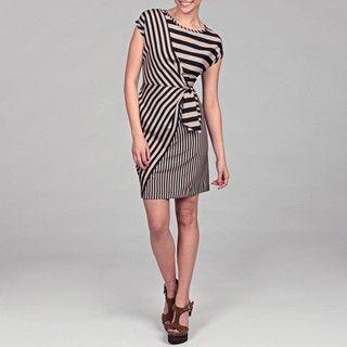 Gabby Skye Womens Navy/ Grey Stripe Mock Wrap Dress