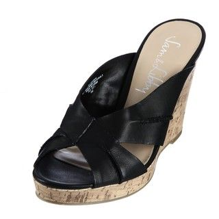 Sam & Libby Womens Lovebug Black Wedge Sandals