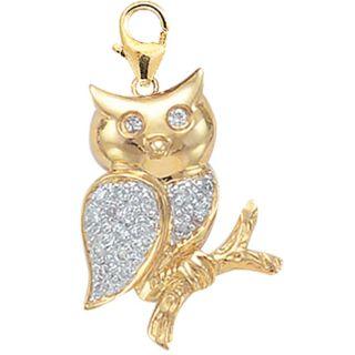 14k Yellow Gold 1/10ct TDW Diamond Owl Charm