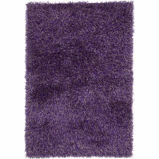 Hand woven Mandara Purple Shag Rug (5 x 76)
