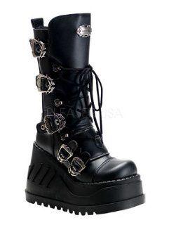 Black Demonia Buckle Platform Boots   6 Shoes