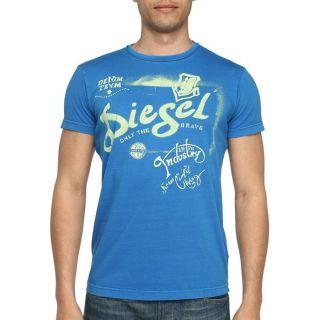 DIESEL T Shirt Ducha Homme Bleu royal et vert   Achat / Vente T SHIRT