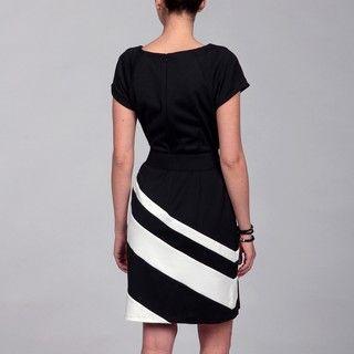 Sandra Darren Black/ Ivory Belted Dress