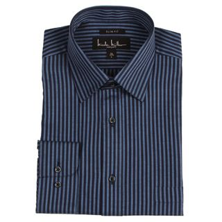 Nicole Miller Mens Navy Blue Stripe Dress Shirt