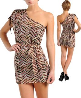Stanzino Womens Brown/ White One shoulder Dress