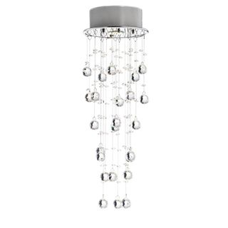 Floating Bubble Crystal and Chrome Flush Mount Chandelier