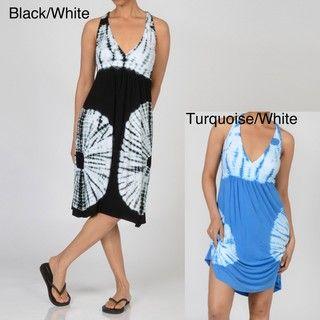 Elan Womens V neck Tie Dye Dress
