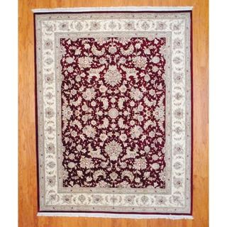 Sino Hand knotted Tabriz Burgundy/ Ivory Wool/ Silk Rug (8 x 10