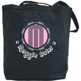 Canvas Tote Bag Black  Maggie Rules  Name Clothing