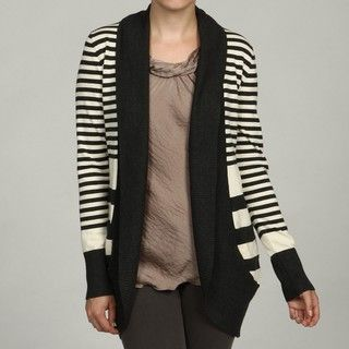 Evie Womens Striped Ribbed Shawl Cardigan