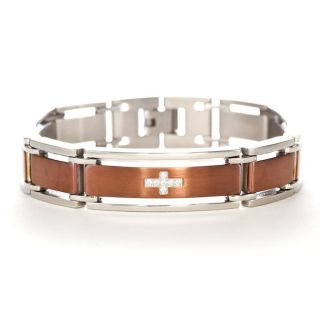 Mens Stainless Steel Copper Insert CZ Cross Bracelet