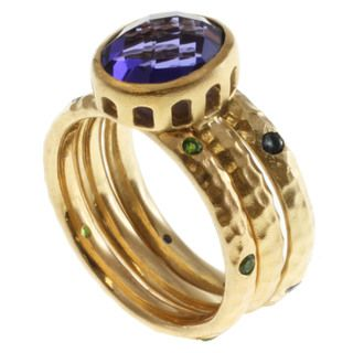 Michael Valitutti Gold over Silver Multi gemstone Ring Set
