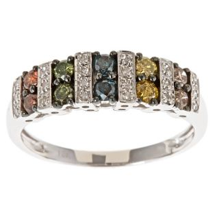 Yach 10k White Gold Multi color Diamond Fashion Ring