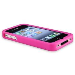 Pink Silicone Case/ Animal Home Button Stickers for Apple iPhone 4/ 4S