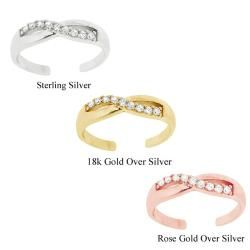 Icz Stonez Sterling Silver Cubic Zirconia Crossover Toe Ring