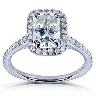 14k Gold Radiant cut Moissanite and 1/4ct TDW Diamond Engagement Ring