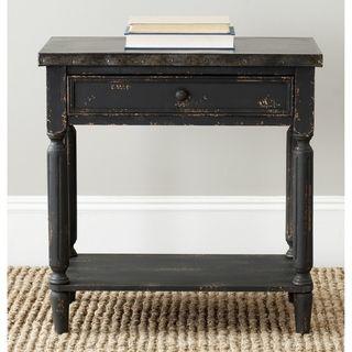 John Antiqued Black Side Table