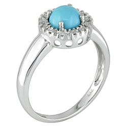 14 kt. White Gold 1/10 ct. Diamond and Turquoise Ring