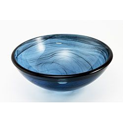 DeNovo Blue Blown Glass Vessel Sink