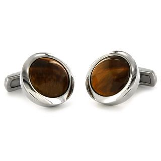 West Coast Jewelry Stainless Steel Tigers Eye Inlay Cuff Links