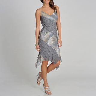Soulmates Womens Grey Branch Print Silk Blend Dress