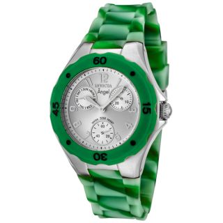 Invicta Womens Angel Silver Dial Multi Green Rubber Watch