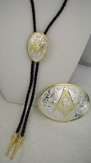 Sterling Silver /Gold Plated Masonic Bolo Tie and Buckle