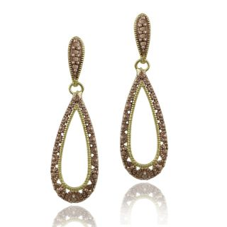 DB Designs Rose Gold Over Silver Champagne Diamond Accent Teardrop