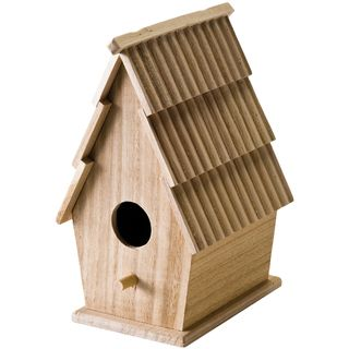 Wood Bird House W/Shingle Roof 5X8 3/4X5