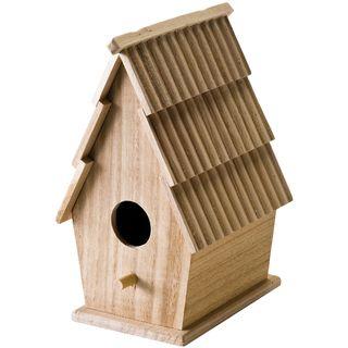 Wood Bird House W/Shingle Roof 5X8 3/4X5