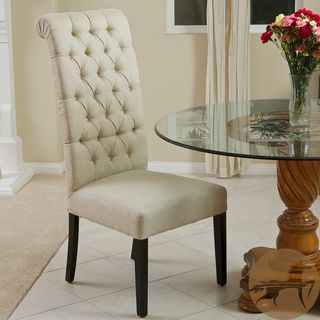 Christopher Knight Home Limon Tall Back Tufted Dark Beige Fabric