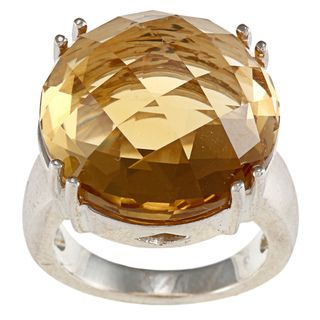 FJC Sterling Silver Round Disc Citrine Ring