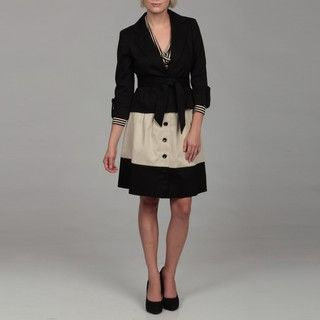 Nine West Womens Black/ Beige Button front Skirt Suit