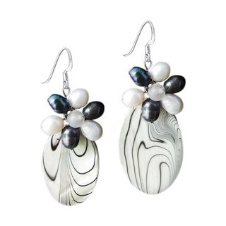 Sterling Silver Black/ White Pearl/Mother of Pearl Earrings (Thailand