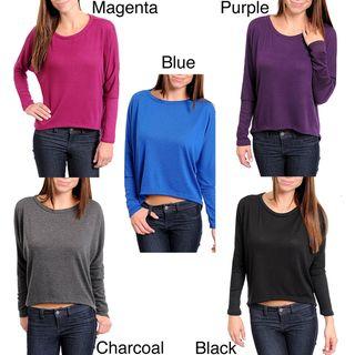 Stanzino Womens Long Sleeve Scoop Neck Solid Top
