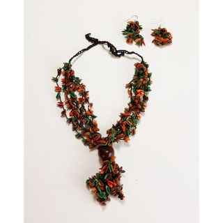 Earth Melon Seed Necklace and Earring Set (Colombia)