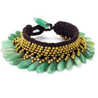 Jade and Brass Bead Wax Cord Bracelet (Thailand)