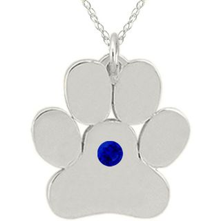 10k Gold September Birthstone Created Sapphire Paw Print Necklace