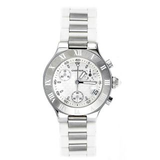 Cartier Mens Must 21 Stainless Steel White Rubber Chronograph Watch