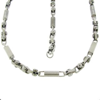 Stainless Steel Textured Link Necklace and Bracelet Set